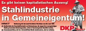 Flugblatt-Kopf: «Stahlindustrie in Gemeneigentum!».